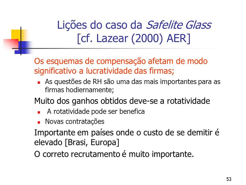 Lições do caso da Safelite Glass [cf. Lazear (2000) AER]